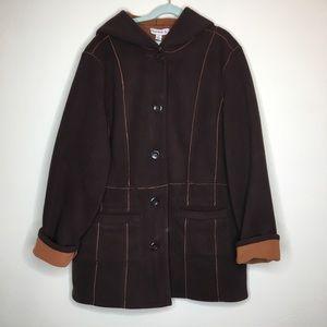 NWOT Susan Graver SM Fleece Reversible Coat Brown